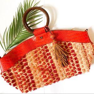 Sam Edelman   Wooden Ring Pom Pom Hand Bag
